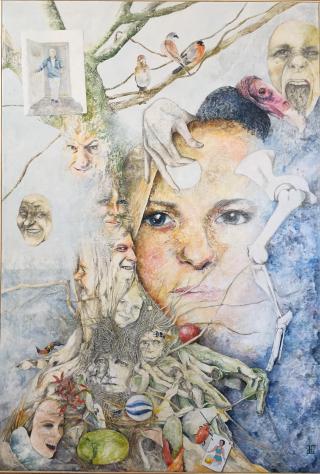 """""""Brikker til indsigt"""" - 2016 - akryl og blyant på lærred - 130 x 89 cm SOLGT"""