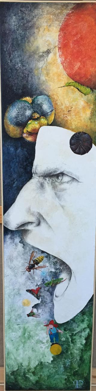 """""""Hvad vil du sige?"""" - 2016 -  blyant og akryl på lærred - 130 x 30 cm"""