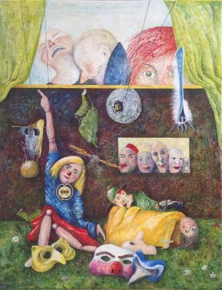 """""""På den anden side"""" – 2013 - akryl på lærred - 116 x 89 cm - 7.000;-"""