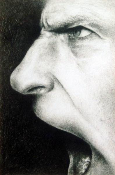 """""""Afgørelsen 1"""" – 2000 - blyant på papir - 13 x 9 cm - solgt - Tegning af Pernille Helleskov Pedersen"""