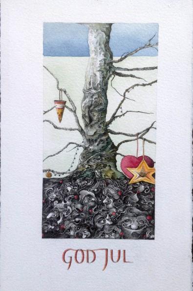 """""""Julekort"""" – 2004 - blyant og akvarel på papir - 20 x 8 cm - privat - Akvarel af Pernille Helleskov Pedersen"""