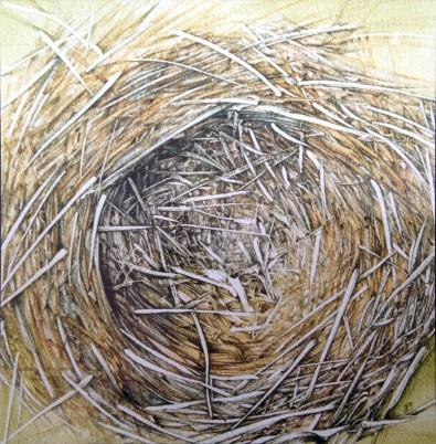 """""""Rede"""" – 2002 - blyant og akvarel på papir - 25 x 25 cm - solgt - Akvarel af Pernille Helleskov Pedersen"""