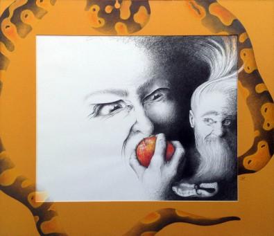 """""""Synderen"""" – 2007 - blyant og akvarel på papir - 68 x 77cm - Akvarel af Pernille Helleskov Pedersen"""