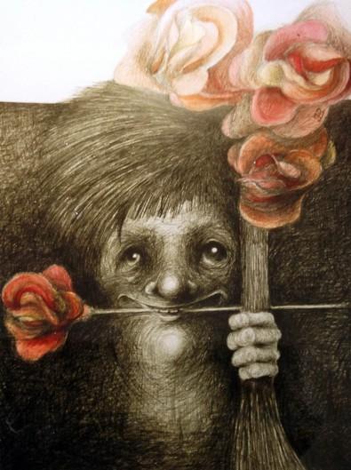 """""""Tilbedere"""" – 2000 - blyant og akvarel på papir - 70 x 50 cm - solgt - Akvarel af Pernille Helleskov Pedersen"""