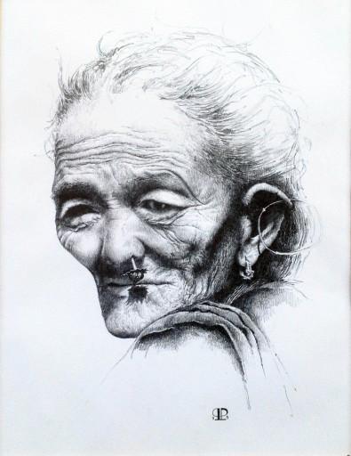 """""""Kvinde fra Nepal"""" – 1999 - blyant på papir - 40 x 30  privat cm - Tegning af Pernille Helleskov Pedersen"""