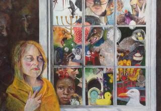 """""""At gå ud i verden"""" - 2015 - akryl på lærred - 89 x 116 cm - SOLGT"""